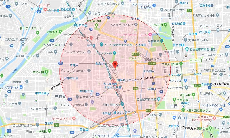 名駅校送迎対象 地図
