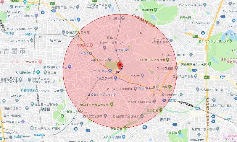 八事校送迎対象 地図