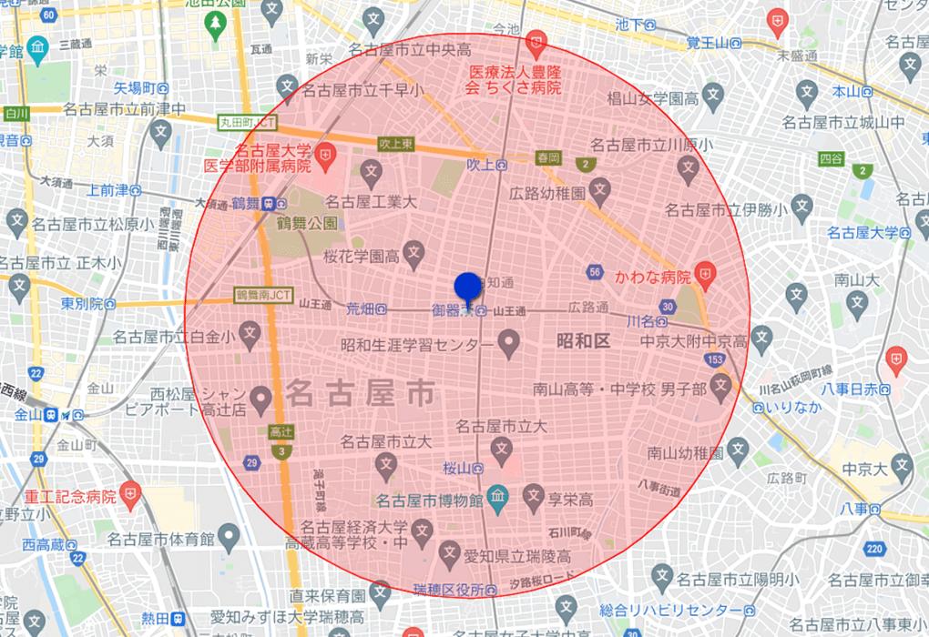御器所校サービス対象 地図